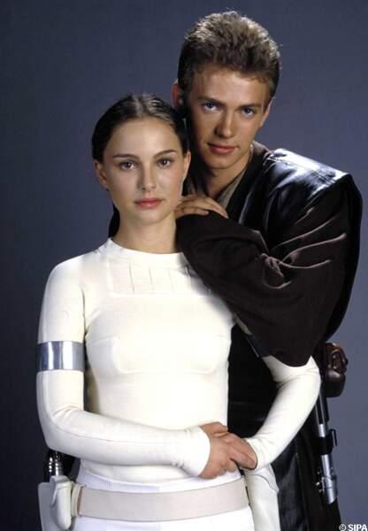 Avec Hayden Christenssen, Natalie Portman dans Star Wars, l'attaque des clônes