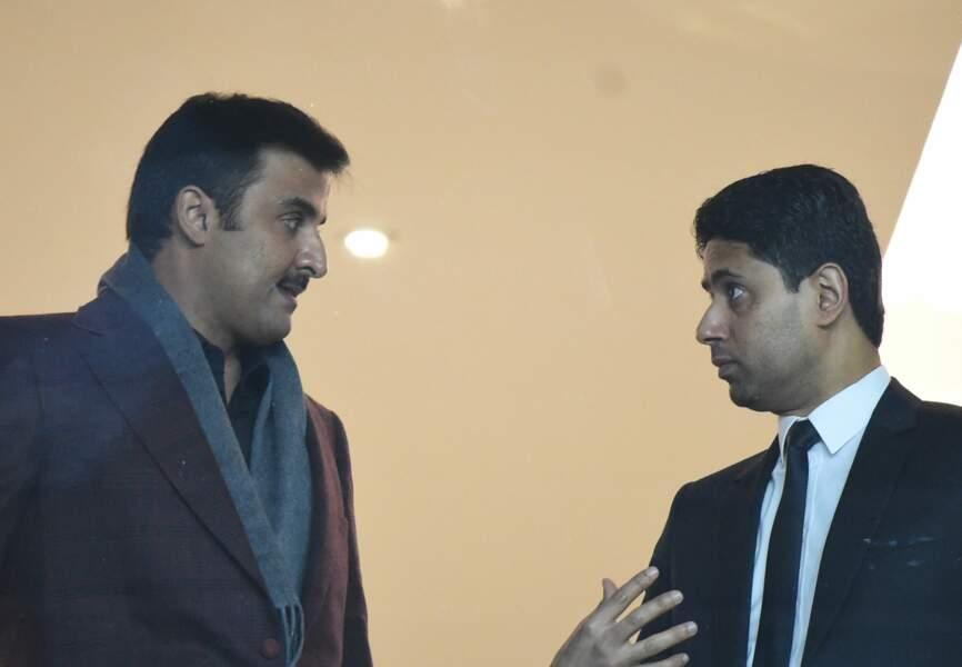 Nasser Al-Khelaïfi (président du PSG) et Son Altesse Cheikh Tamim bin Hamad Al Thani, Emir de l'Etat du Qatar.