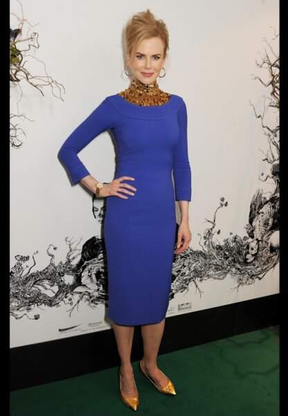 Nicole Kidman bleu électrique en février 2013