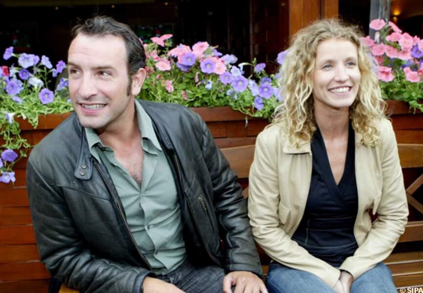 Jean Dujardin et Alexandra Lamy à Roland Garros en 2004