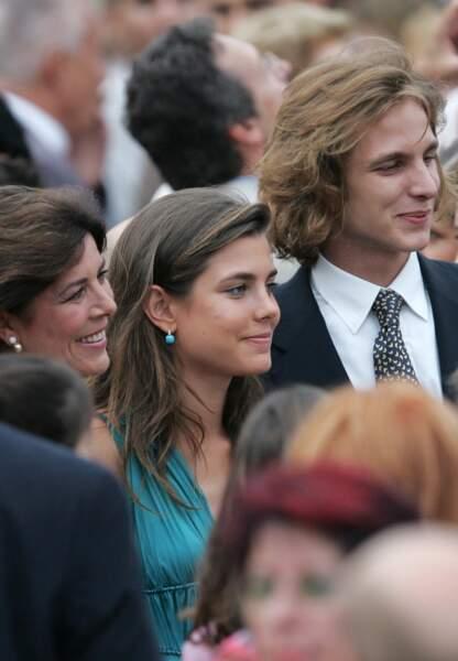 12 juillet 2005, Charlotte et Andréa lors de la cérémonie d'accès au trône d'Albert II de Monaco