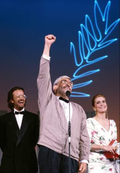 Avec Maurice Pialat à Cannes en 1987