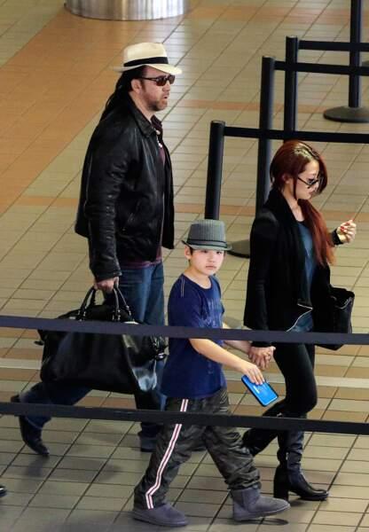 Nicolas Cage en famille. au premier plan son fils Kal-El, né le 3 octobre 2005
