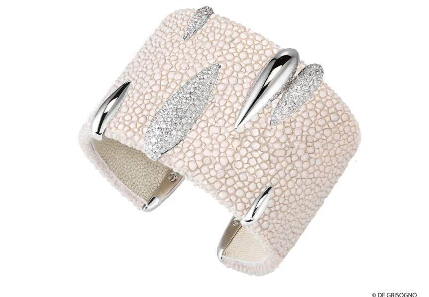 Bracelet galuchat serti de diamants dur or blanc
