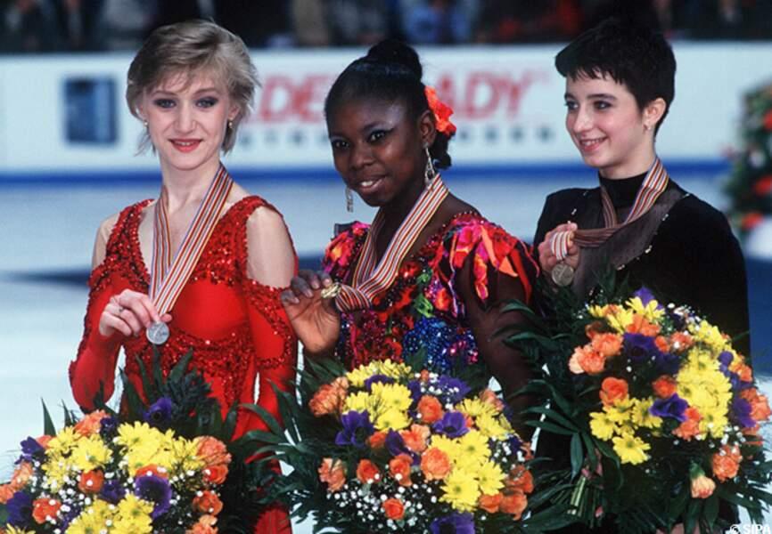 Surya Bonaly médaille d'or au championnat d'Europe de Dortmund en 1995