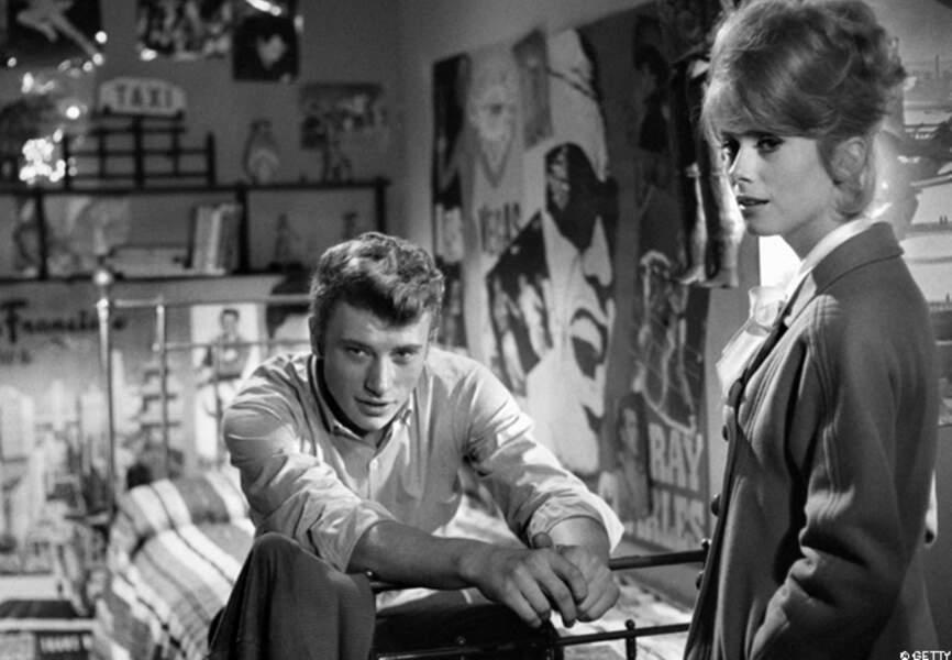 Catherine et Johnny Hallyday sur le tournage des Parisiennes en 1961