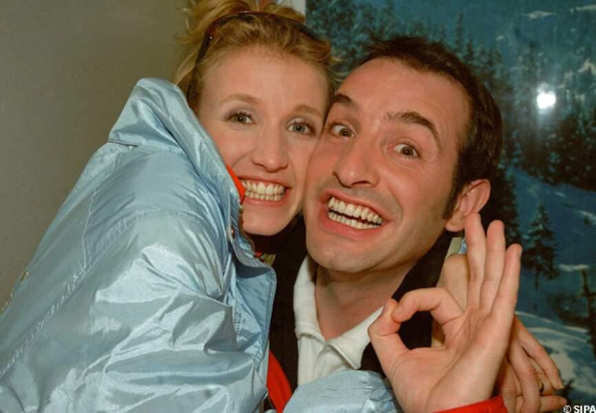 Jean Dujardin et Alexandra Lamy aux Ménuires en 2001