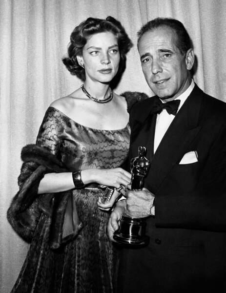 En fourrure et robe Christian Dior aux Oscars en 1952 avec Humphrey Bogart  qui recevait le prix du meilleur acteur