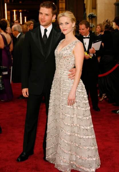 Reese Witherspoon au bras de Ryan Phillippe en Christian Dior (2006)