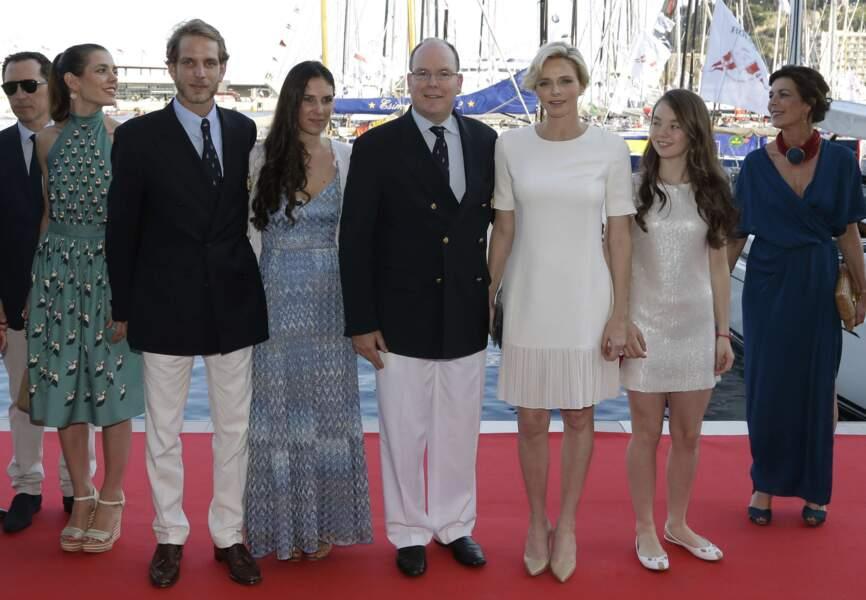 De gauche à droite, Gad Elmaleh, Andrea Casiraghi et sa femme Tatiana, le Prince Albert II et la princesse Charlène