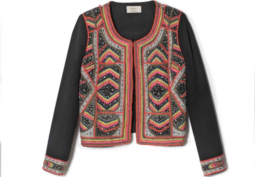 Vest en lin brodé de pierres et sequins, Ba&sh, 650€