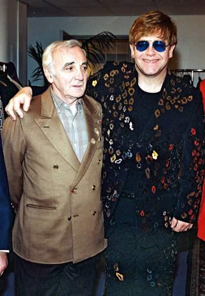 Rencontre au sommet entre deux monstres sacrés de la musique, Charles Aznavou et Elton John. (2001)