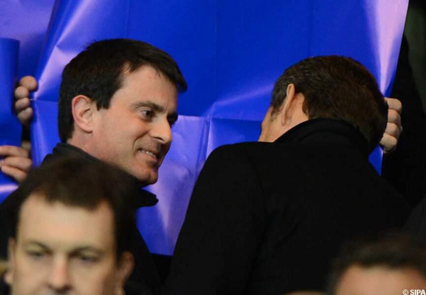 Le ministre de l'Intérieur Manuel Valls et l'ancien président de la République Nicolas Sarkozy