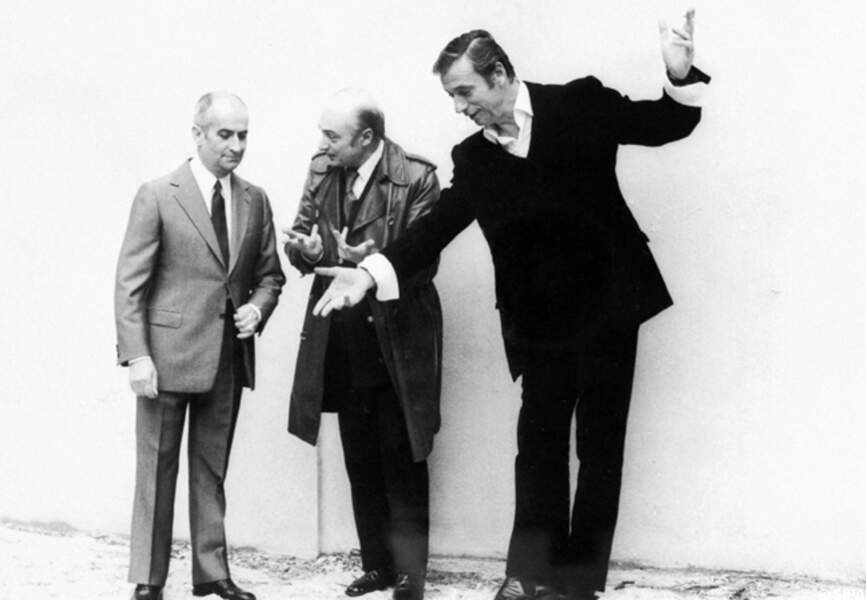 Louis de Funès, accompagné de Gérard Oury et Yves Montand sur La folie des grandeurs