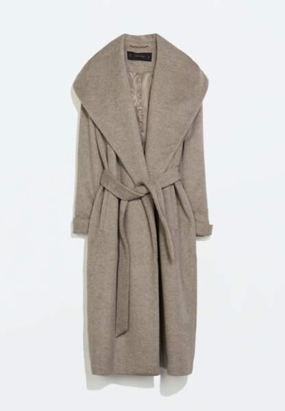 Zara, Manteau laine ceinture, 129€
