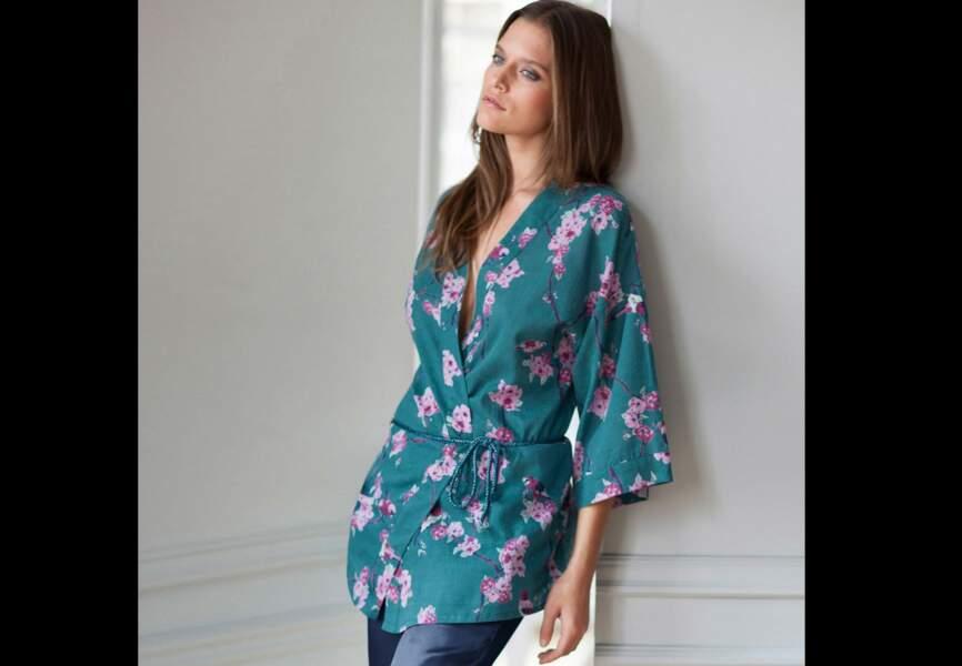 3 Suisses – Peignoir kimono femme en coton imprimé fleurs – 44,99€
