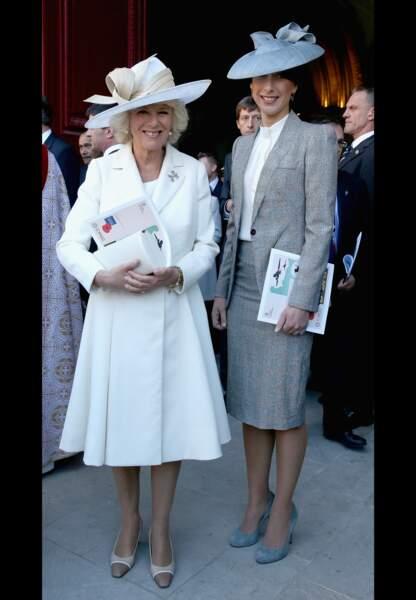 Camilla, duchesse de Cornouailles en Dior et Samantha Cameron, first lady britannique