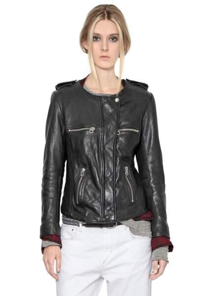Isabel Marant Etoile, veste moto en cuir nappa, 770€