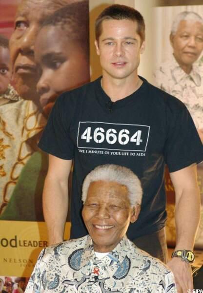 Nelson Mandela et Brad Pitt