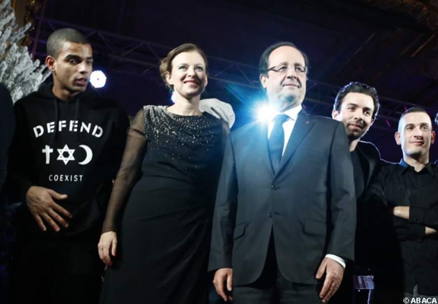 Brahim Zaibat, Valérie Trierweiler, François Hollande au Noël de l'Elysée