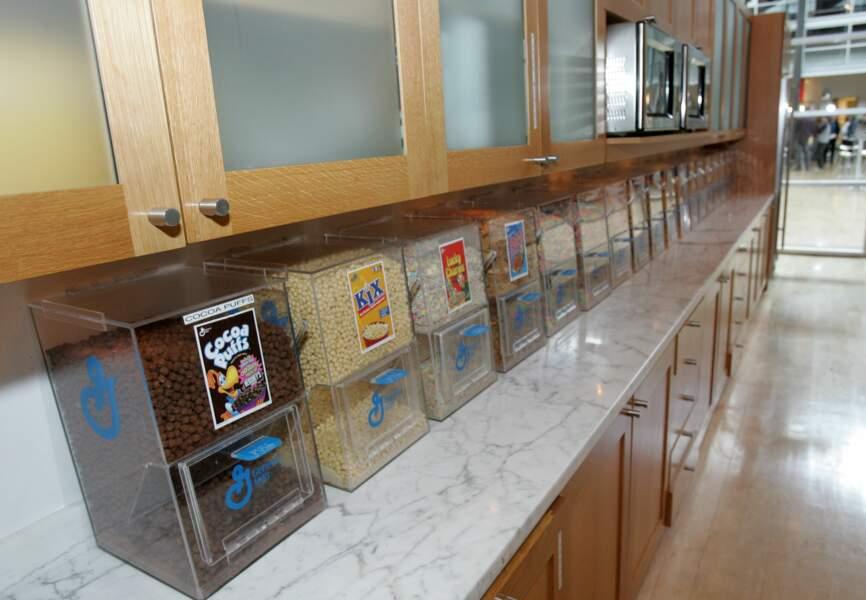 Le bar à céréales mis à la disposition de tous les employés du studio