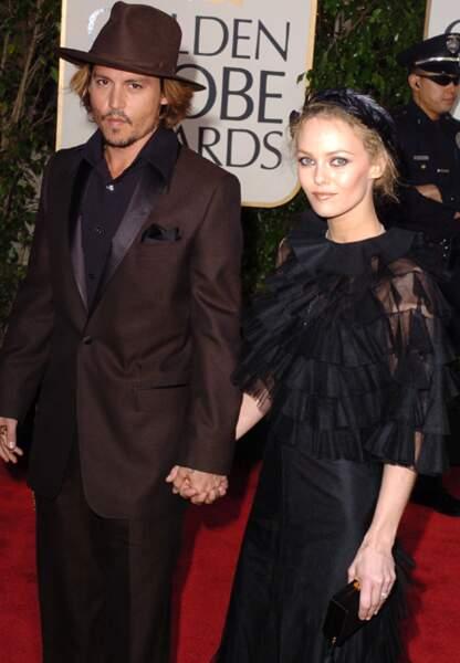 Vanessa Paradis et Johnny Depp aux Golden Globes, en 2004