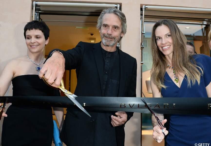 Juliette Binoche, Jeremy Irons et Hilary Swank