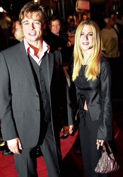 Brad Pitt et Jennifer Aniston sur le tapis rouge de Fight Club en 1999