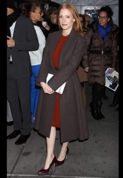 Jessica Chastain, diva d'Hollywood au défilé Calvin Klein