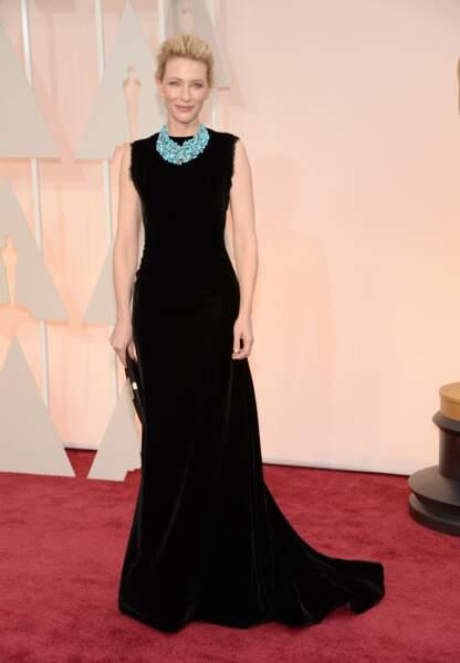 Cate Blanchett en Maison Margiela Couture par John Galliano, collier Tiffany & co, pochette Roger Vivier