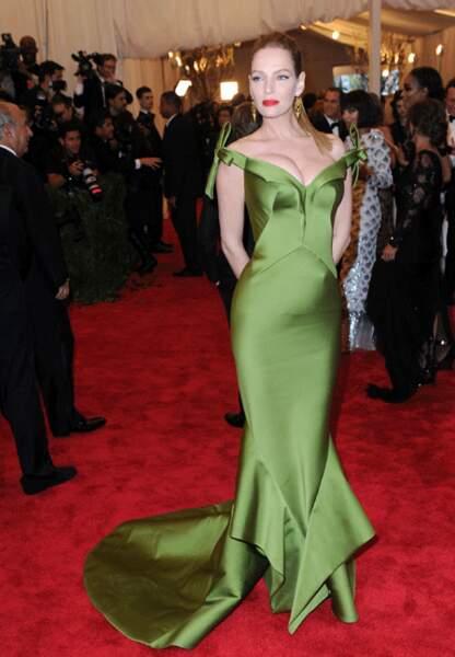 Uma Thurman et sa silhouette verte couture