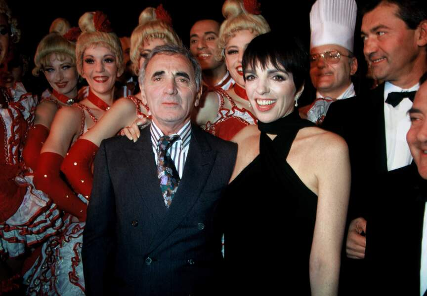 En 1991, au bras de l'Américaine Liza Minneli sur la scène du Moulin Rouge, à Paris