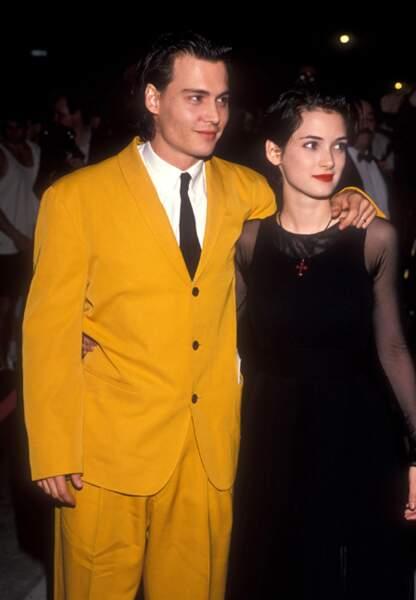 Avec Winona Ryder à la première de Cry Baby, 1990