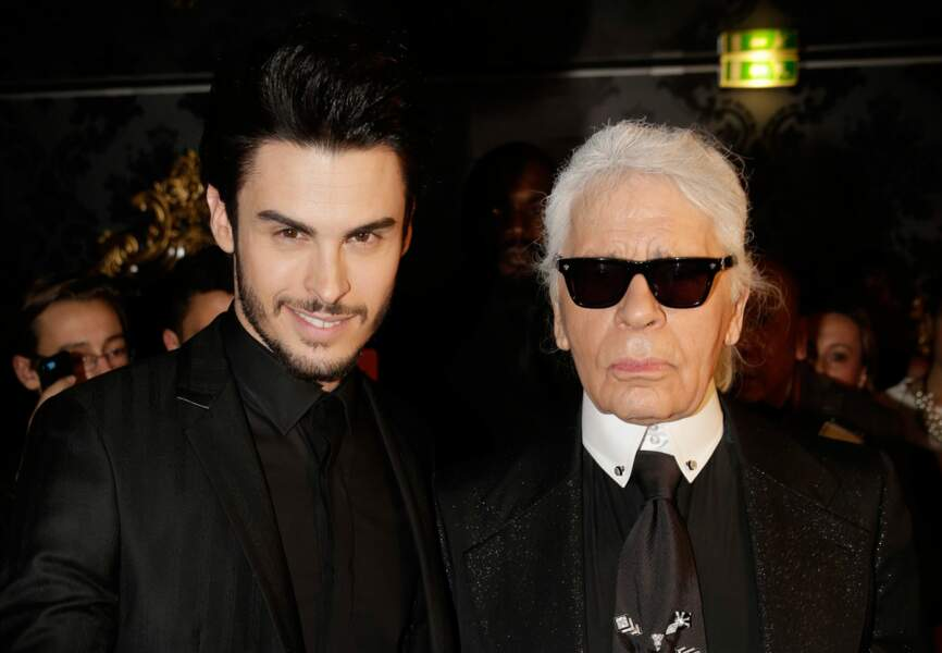 Baptiste Giabiconi et Karl Lagerfeld