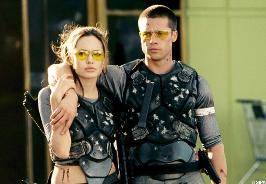 Brad Pitt et Angelina Jolie dans Mr and Mrs Smith en 2005