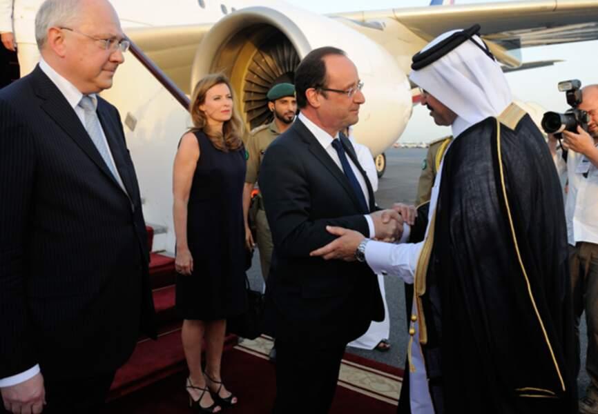 Valérie Trierweiler et François Hollande rencontrent l'emir du Qatar