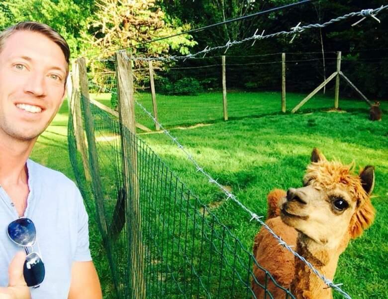 Alain Bernard et un lama