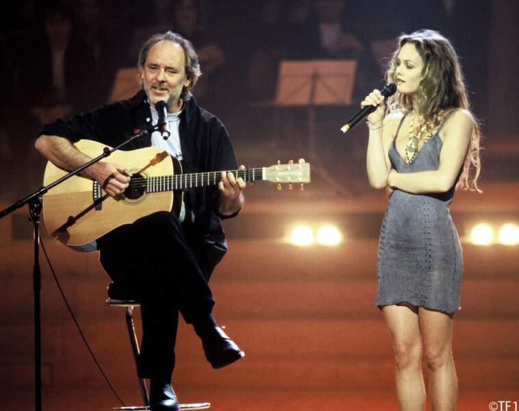 """""""Maxime Le Forestier et Vanessa Paradis entonnent Mistral Gagnant au Zénith de Paris, en 1999."""""""
