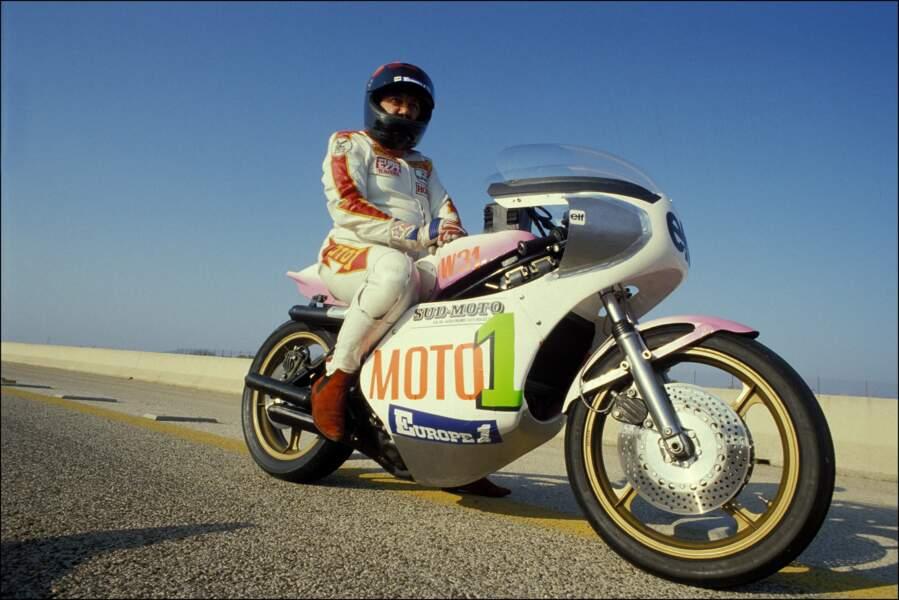 Coluche lors de son record du monde de vitesse en Italie le 29 septembre 1985