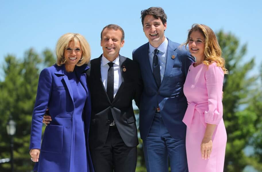 Le couple présidentiel en compagnie de Justin Trudeau et son épouse Sophie Gregoire, à Malbaie au Québec, le 8 juin
