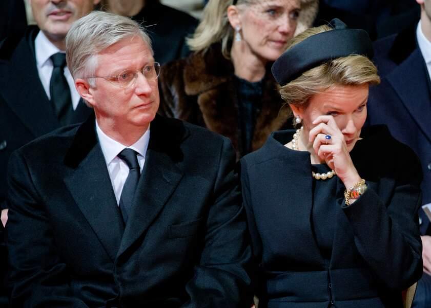 Le roi Philippe et la reine Mathilde de Belgique lors des obsèques de la reine Fabiola, le 12 décembre 2014