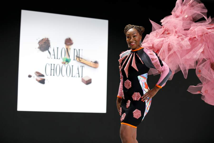 Nadège Beausson habillée par F. Fondadouze pour Akène & P. Bertrand pour Barry Callebaut et coiffée par Franck Pr
