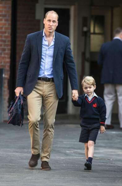 Le prince William emmène son fils George à l'école pour la rentrée scolaire, le 7 septembre 2017