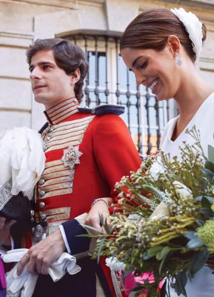 Fernando Fitz-James Stuart, duc de Huèscar et Sofia Palazuelo échangent les alliances lors de leur mariage.