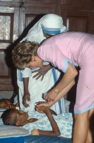 Lady Diana, à Calcutta, en 1992