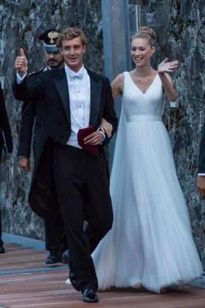 Pierre Casiraghi, un marié très élégant en nœud papillon clair pour épouser Beatrice Borromeo le 1er août 2015