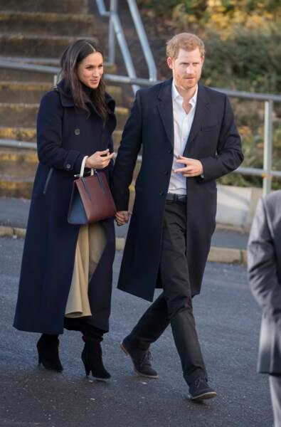 A Nottingham le 1er decembre 2017, lors de leur première visite officielle depuis l'annonce de leurs fiançailles