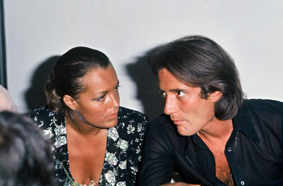 Romy Schneider et Daniel Biasini  au Byblos à Saint Tropez en 1975