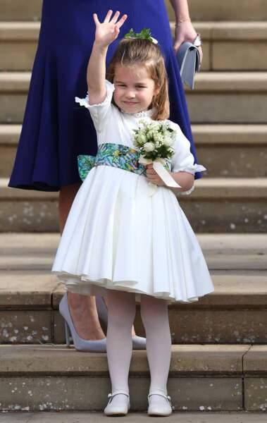 La princesse Charlotte de Cambridge sortie après la cérémonie de mariage de la princesse Eugenie d'York