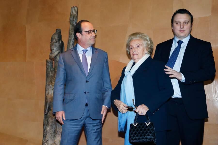 Francois Hollande, Bernadette et Martin Chirac au 10e anniversaire du Musée du Quai Branly, en 2016